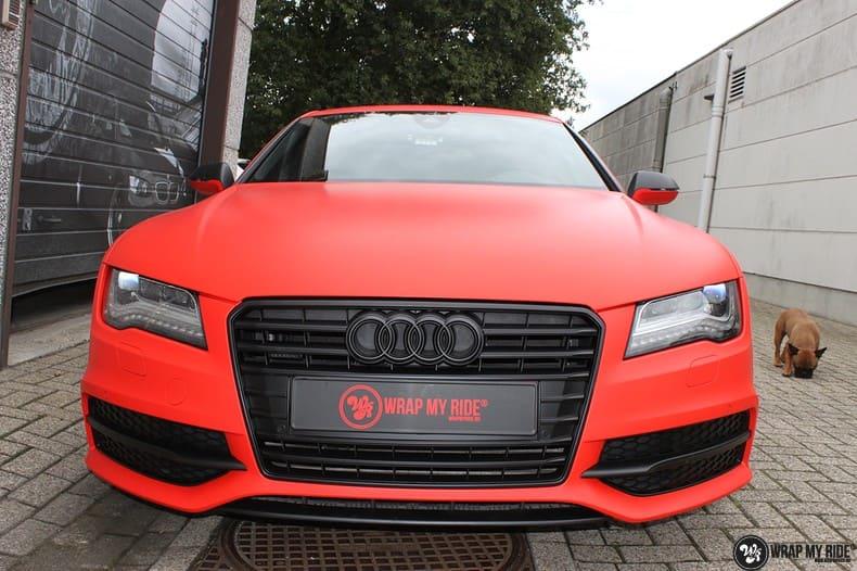 Audi A7 matte hotrod red, Carwrapping door Wrapmyride.nu Foto-nr:10293, ©2017