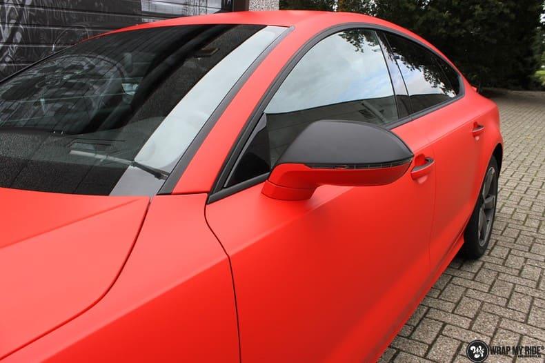 Audi A7 matte hotrod red, Carwrapping door Wrapmyride.nu Foto-nr:10287, ©2017