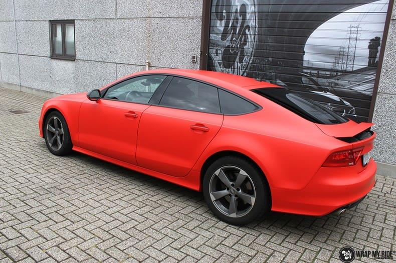 Audi A7 matte hotrod red, Carwrapping door Wrapmyride.nu Foto-nr:10285, ©2017