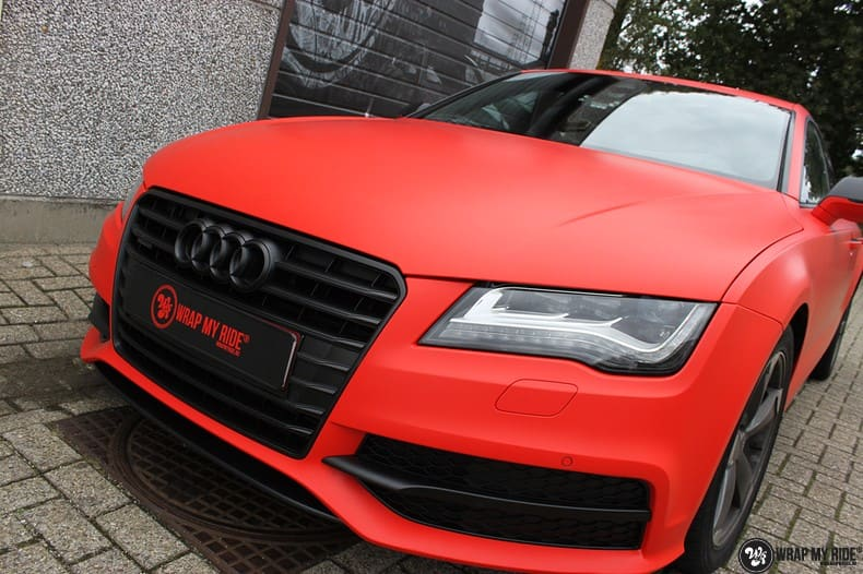 Audi A7 matte hotrod red, Carwrapping door Wrapmyride.nu Foto-nr:10282, ©2017