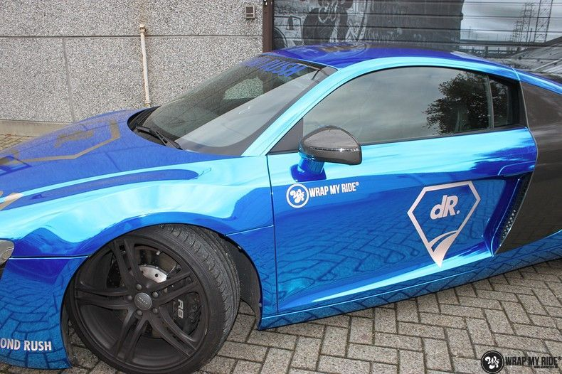 Audi R8 Bleu Chrome, Carwrapping door Wrapmyride.nu Foto-nr:10480, ©2017