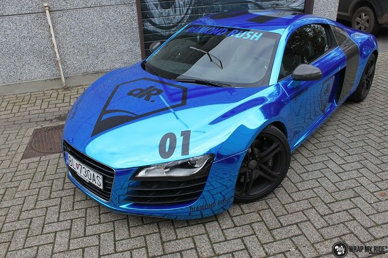 Audi R8 Bleu Chrome, Carwrapping door Wrapmyride.nu Foto-nr:10479, ©2017