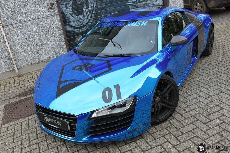 Audi R8 Bleu Chrome, Carwrapping door Wrapmyride.nu Foto-nr:10471, ©2017