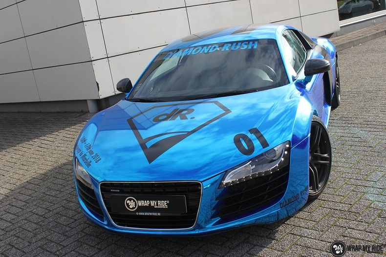Audi R8 Bleu Chrome, Carwrapping door Wrapmyride.nu Foto-nr:10463, ©2017