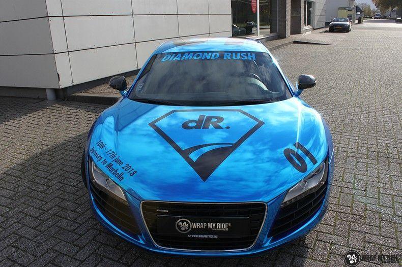 Audi R8 Bleu Chrome, Carwrapping door Wrapmyride.nu Foto-nr:10462, ©2017