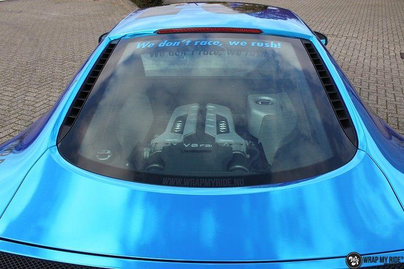 Audi R8 Bleu Chrome, Carwrapping door Wrapmyride.nu Foto-nr:10458, ©2017