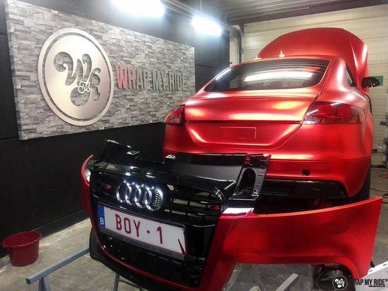 Audi TTS matte red chrome, Carwrapping door Wrapmyride.nu Foto-nr:8852, ©2017