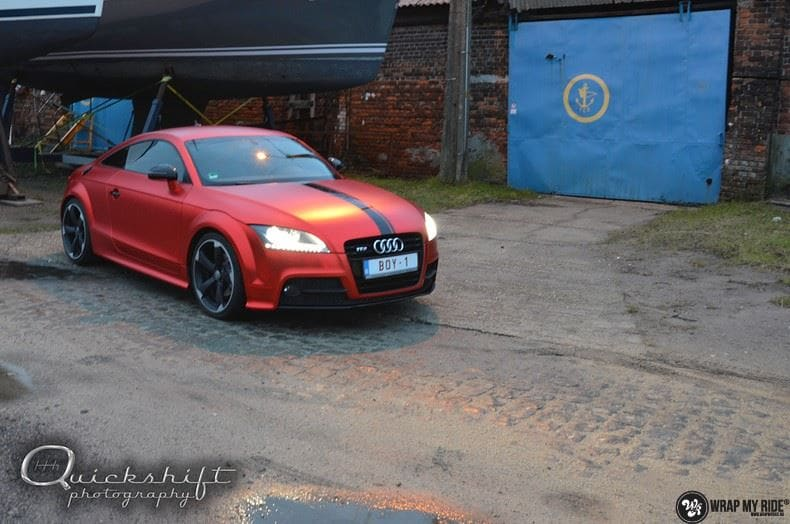 Audi TTS matte red chrome, Carwrapping door Wrapmyride.nu Foto-nr:8853, ©2017