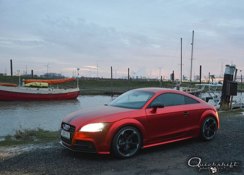 Audi TTS matte red chrome, Carwrapping door Wrapmyride.nu Foto-nr:8856, ©2017