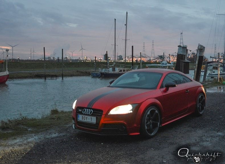 Audi TTS matte red chrome, Carwrapping door Wrapmyride.nu Foto-nr:8857, ©2017