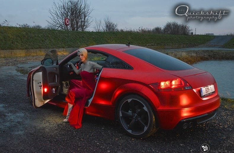Audi TTS matte red chrome, Carwrapping door Wrapmyride.nu Foto-nr:8859, ©2017