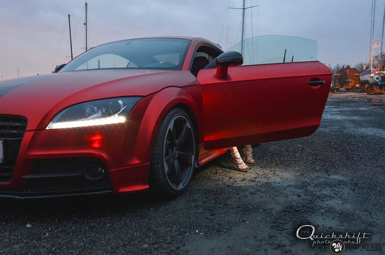 Audi TTS matte red chrome, Carwrapping door Wrapmyride.nu Foto-nr:8860, ©2017