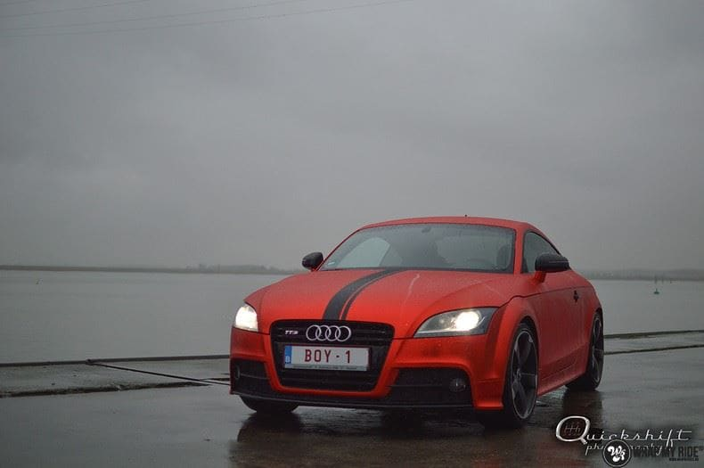 Audi TTS matte red chrome, Carwrapping door Wrapmyride.nu Foto-nr:8863, ©2017