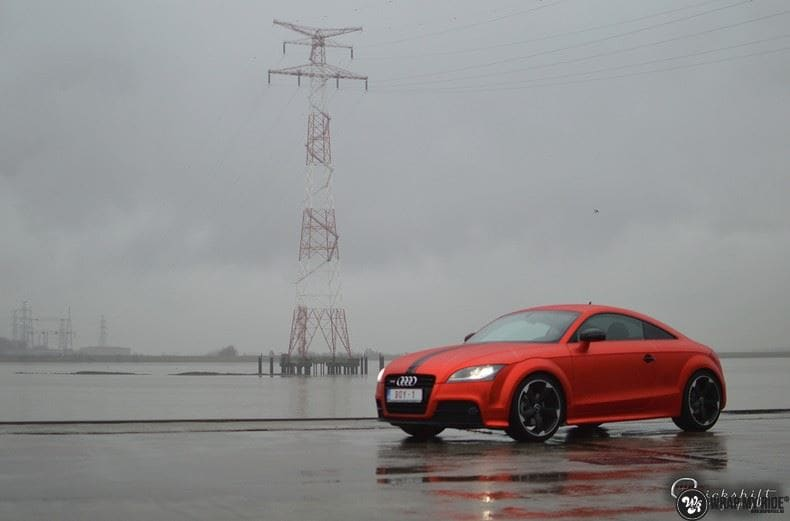 Audi TTS matte red chrome, Carwrapping door Wrapmyride.nu Foto-nr:8864, ©2017