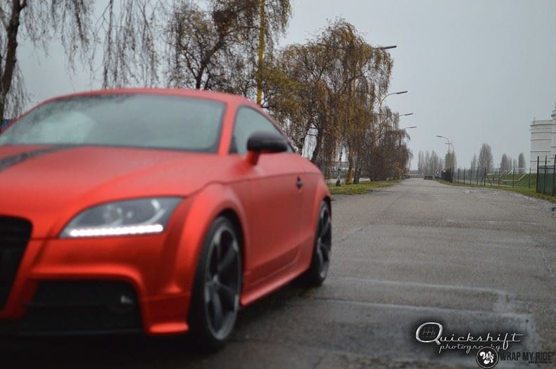Audi TTS matte red chrome, Carwrapping door Wrapmyride.nu Foto-nr:8867, ©2017