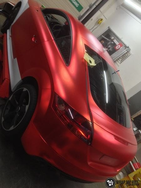 Audi TTS matte red chrome, Carwrapping door Wrapmyride.nu Foto-nr:8870, ©2017
