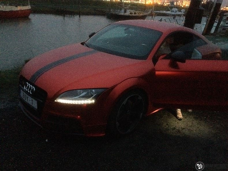 Audi TTS matte red chrome, Carwrapping door Wrapmyride.nu Foto-nr:8878, ©2017