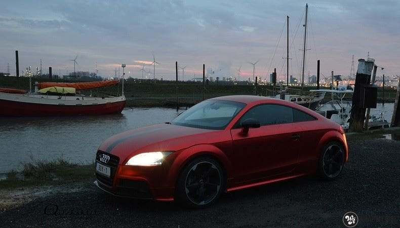 Audi TTS matte red chrome, Carwrapping door Wrapmyride.nu Foto-nr:8879, ©2017