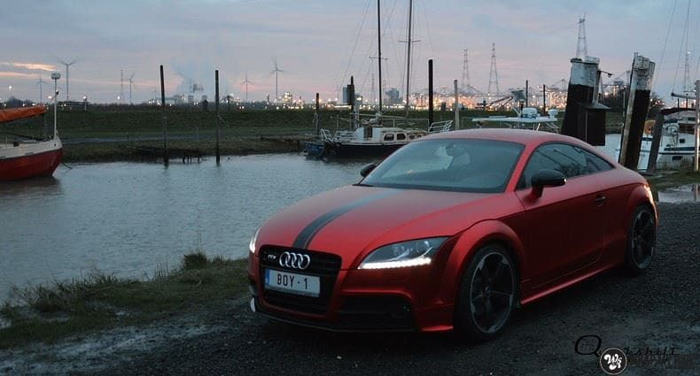 Audi TTS matte red chrome, Carwrapping door Wrapmyride.nu Foto-nr:8880, ©2017
