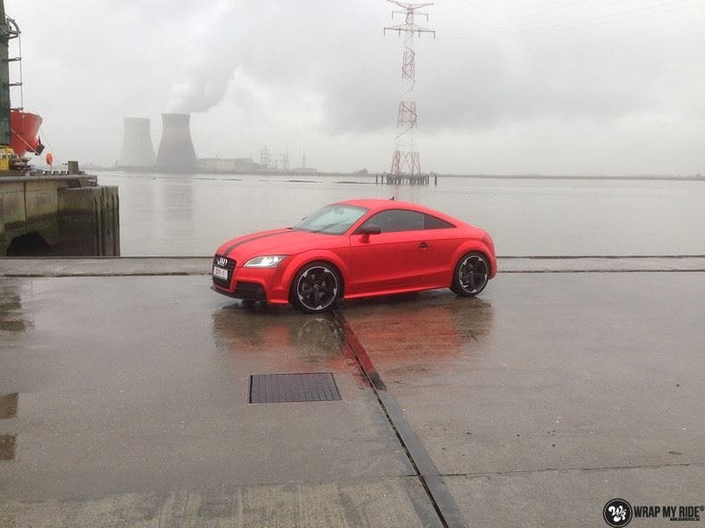 Audi TTS matte red chrome, Carwrapping door Wrapmyride.nu Foto-nr:8882, ©2017