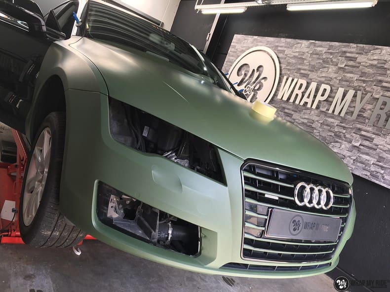 Audi A7 matte military green, Carwrapping door Wrapmyride.nu Foto-nr:9981, ©2017