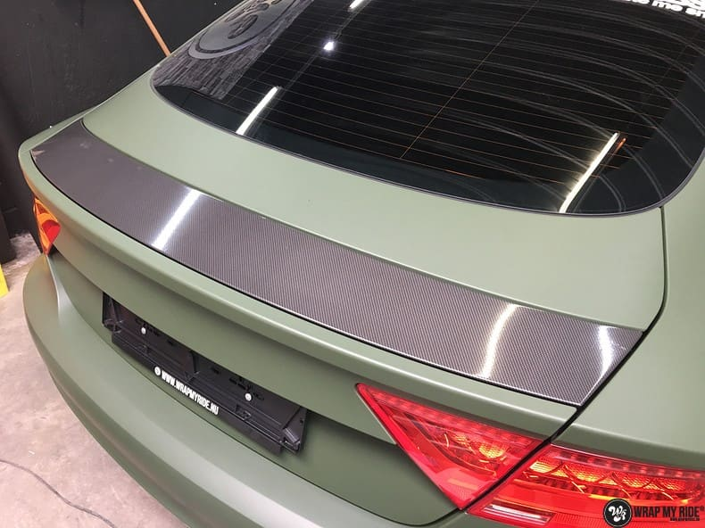 Audi A7 matte military green, Carwrapping door Wrapmyride.nu Foto-nr:9991, ©2017