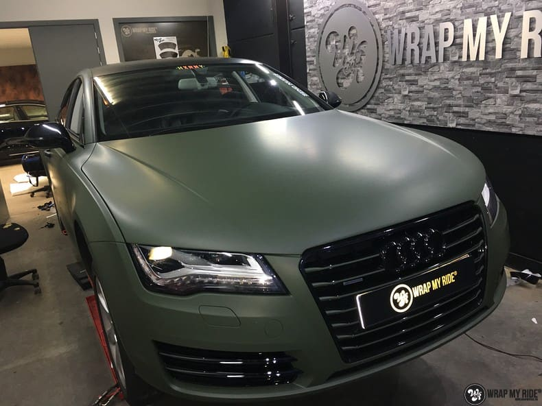Audi A7 matte military green, Carwrapping door Wrapmyride.nu Foto-nr:10001, ©2017