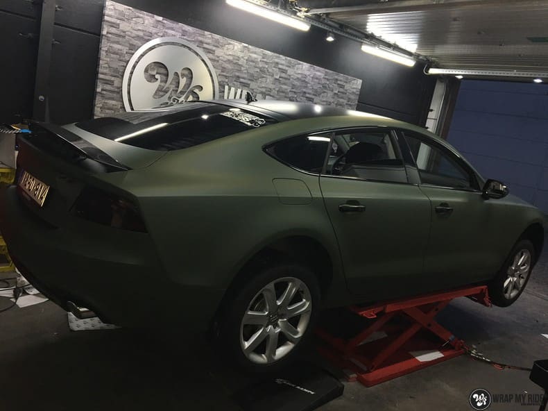 Audi A7 matte military green, Carwrapping door Wrapmyride.nu Foto-nr:10002, ©2017