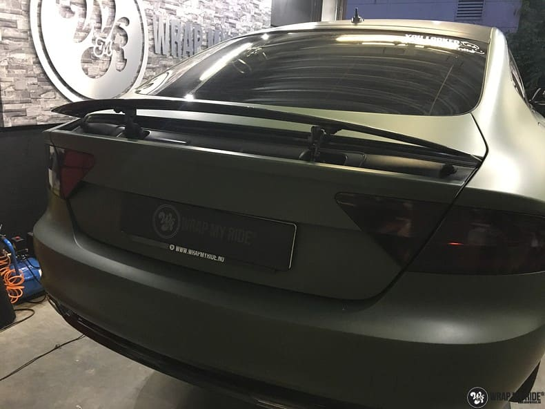 Audi A7 matte military green, Carwrapping door Wrapmyride.nu Foto-nr:10006, ©2017