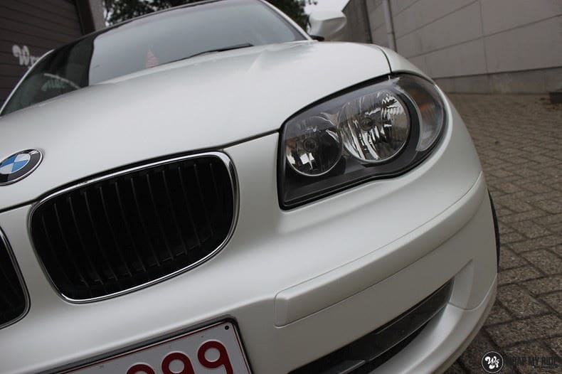 BMW 1-serie 3M Satin Pearl White, Carwrapping door Wrapmyride.nu Foto-nr:9045, ©2017