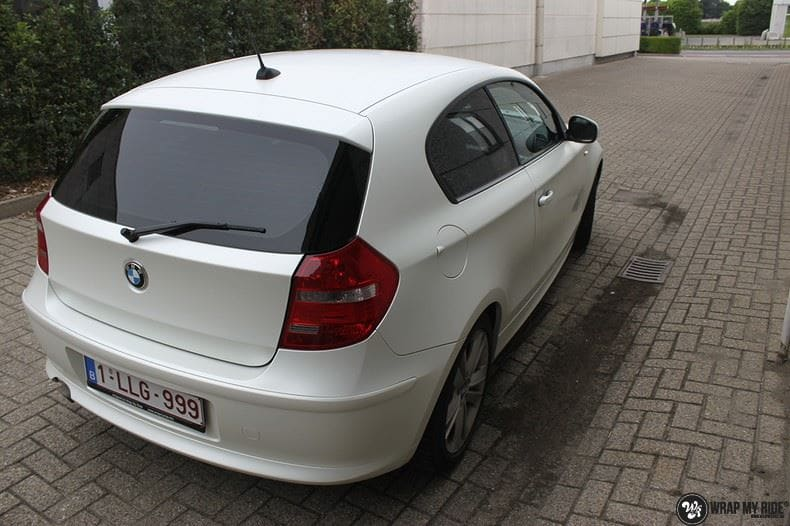 BMW 1-serie 3M Satin Pearl White, Carwrapping door Wrapmyride.nu Foto-nr:9042, ©2017