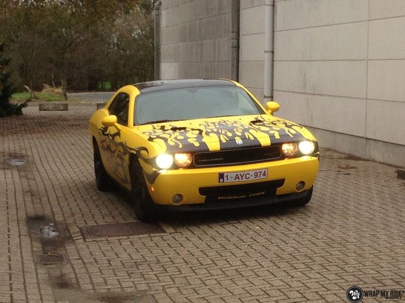 Dodge Challenger matte yellow, Carwrapping door Wrapmyride.nu Foto-nr:8481, ©2017