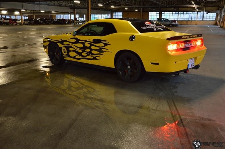 Dodge Challenger matte yellow, Carwrapping door Wrapmyride.nu Foto-nr:8479, ©2017