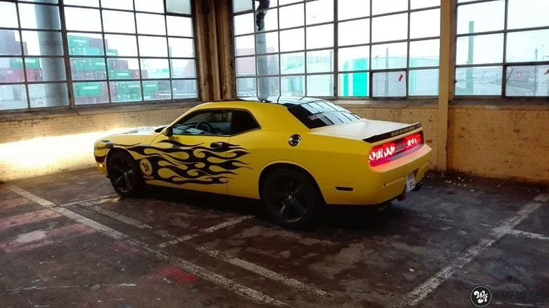 Dodge Challenger matte yellow, Carwrapping door Wrapmyride.nu Foto-nr:8477, ©2017