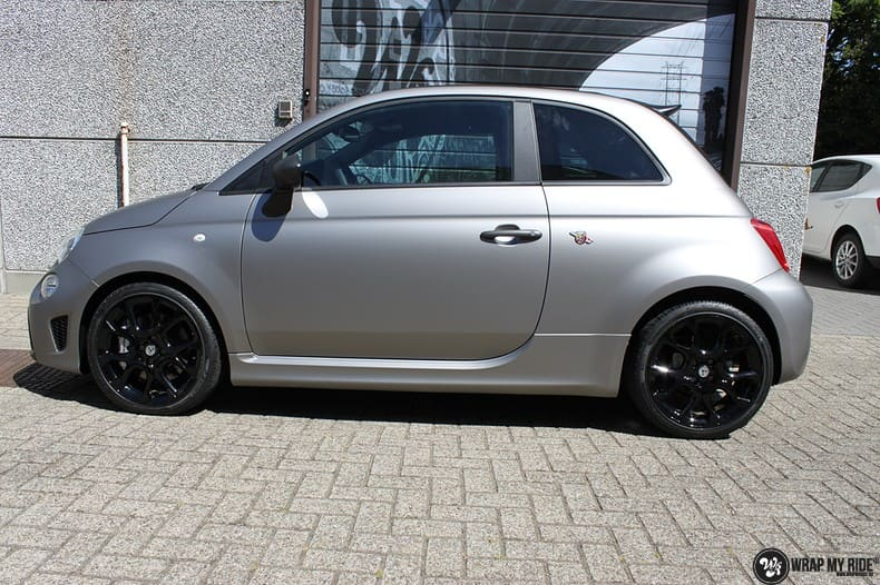 Fiat 595 Abart naar matte grey Aluminium, Carwrapping door Wrapmyride.nu Foto-nr:10013, ©2018
