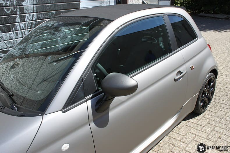 Fiat 595 Abart naar matte grey Aluminium, Carwrapping door Wrapmyride.nu Foto-nr:10022, ©2018