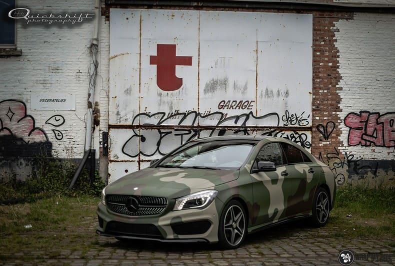 Mercedes CLA custom Camo wrap, Carwrapping door Wrapmyride.nu Foto-nr:10030, ©2017