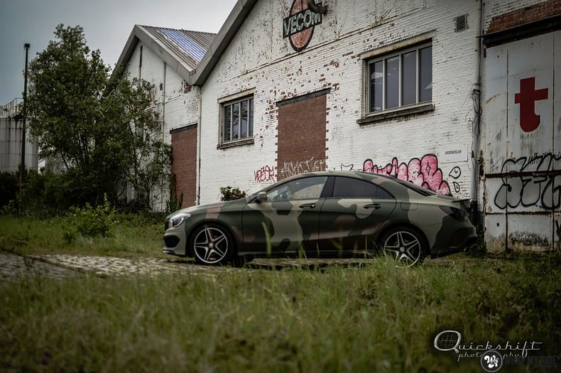 Mercedes CLA custom Camo wrap, Carwrapping door Wrapmyride.nu Foto-nr:10036, ©2017