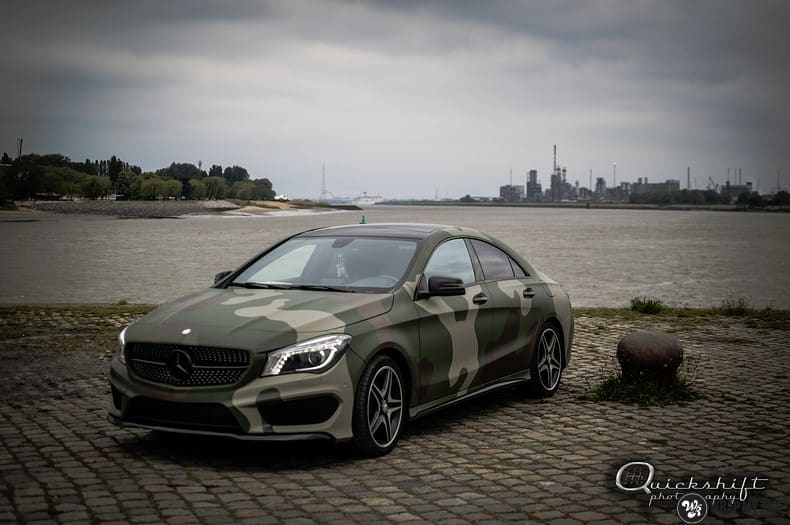 Mercedes CLA custom Camo wrap, Carwrapping door Wrapmyride.nu Foto-nr:10037, ©2017