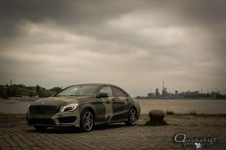 Mercedes CLA custom Camo wrap, Carwrapping door Wrapmyride.nu Foto-nr:10038, ©2017