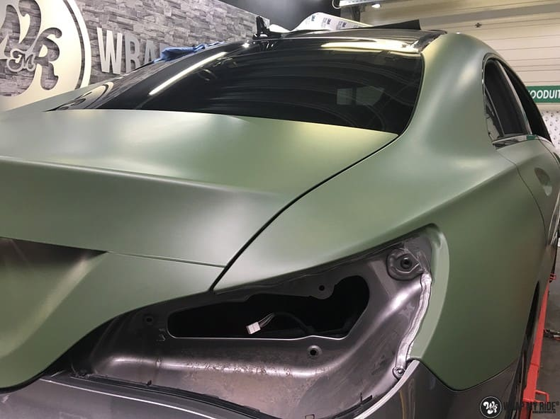Mercedes CLA custom Camo wrap, Carwrapping door Wrapmyride.nu Foto-nr:10045, ©2017
