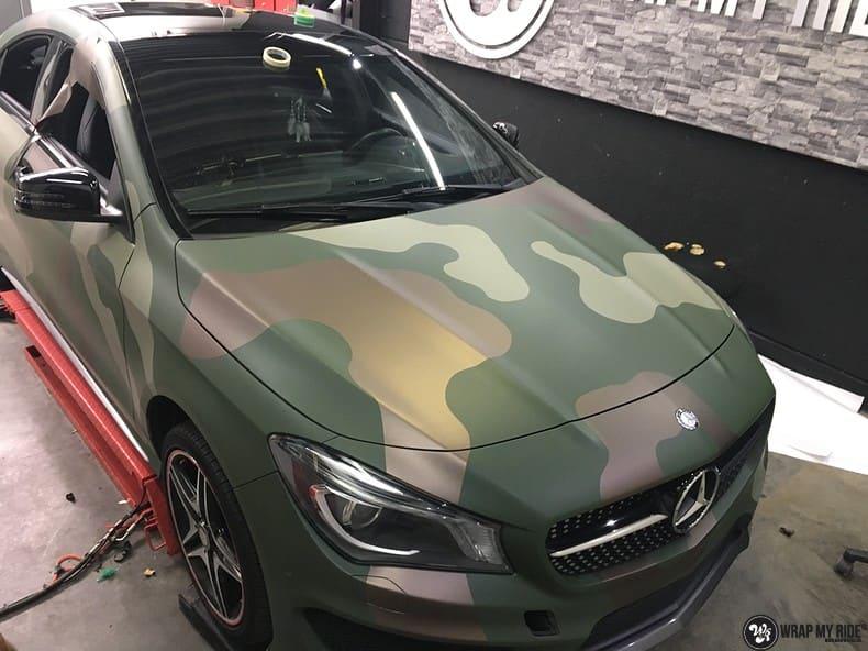 Mercedes CLA custom Camo wrap, Carwrapping door Wrapmyride.nu Foto-nr:10057, ©2017