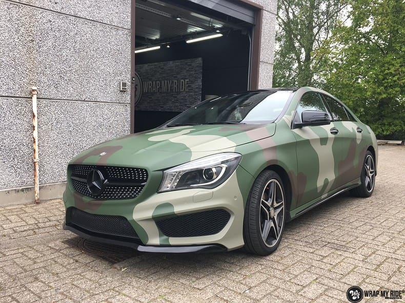 Mercedes CLA custom Camo wrap, Carwrapping door Wrapmyride.nu Foto-nr:10064, ©2017