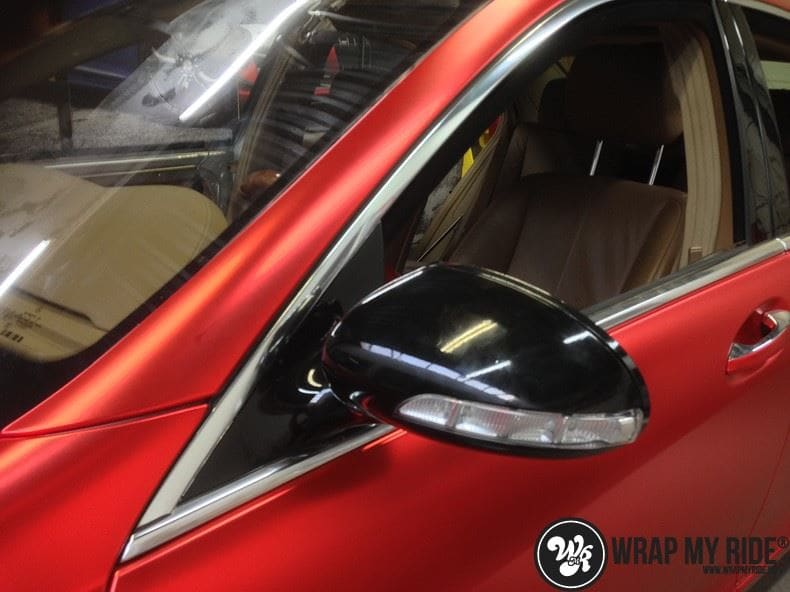 Mercedes S limousine mat rood chrome, Carwrapping door Wrapmyride.nu Foto-nr:7927, ©2017