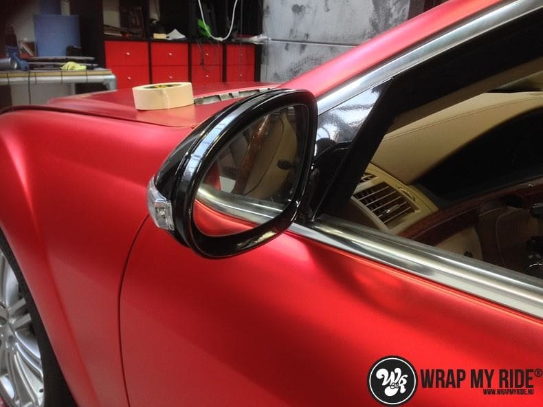 Mercedes S limousine mat rood chrome, Carwrapping door Wrapmyride.nu Foto-nr:7928, ©2017