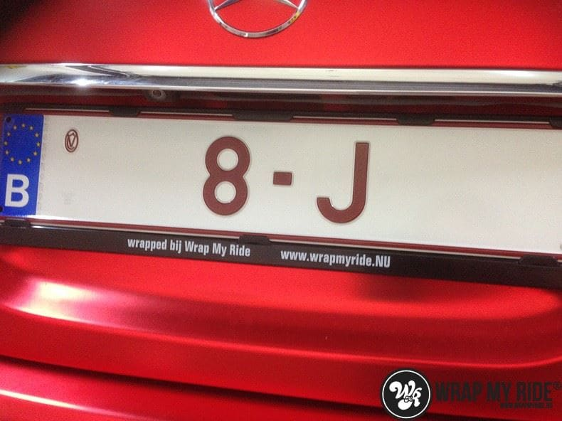Mercedes S limousine mat rood chrome, Carwrapping door Wrapmyride.nu Foto-nr:7930, ©2017