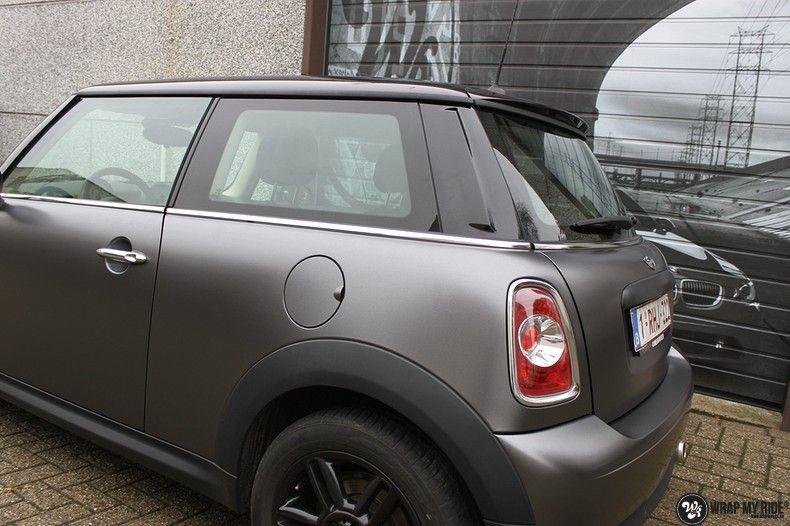 mini cooper one satin dark grey, Carwrapping door Wrapmyride.nu Foto-nr:10453, ©2017