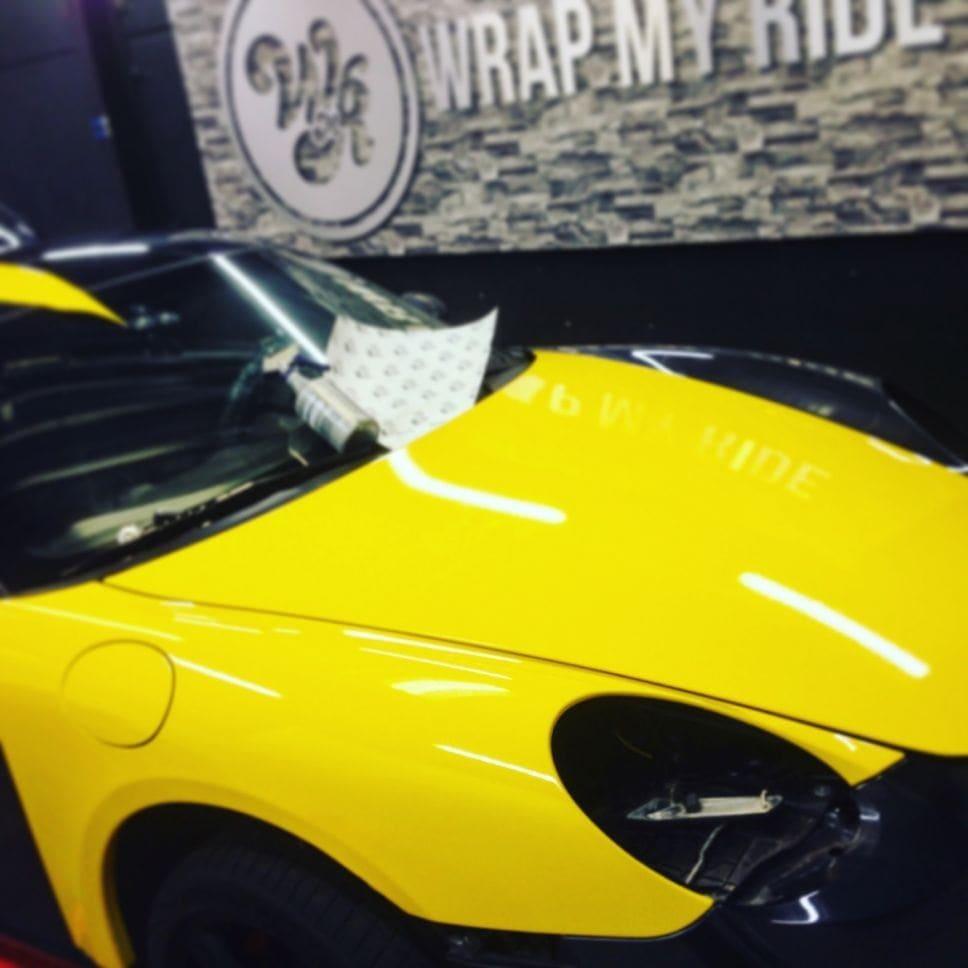 Porsche Cayman Yellow, Carwrapping door Wrapmyride.nu Foto-nr:8841, ©2017