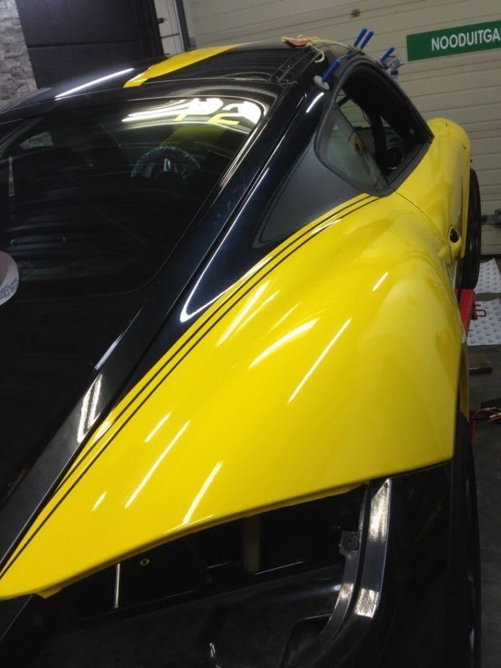 Porsche Cayman Yellow, Carwrapping door Wrapmyride.nu Foto-nr:8843, ©2017