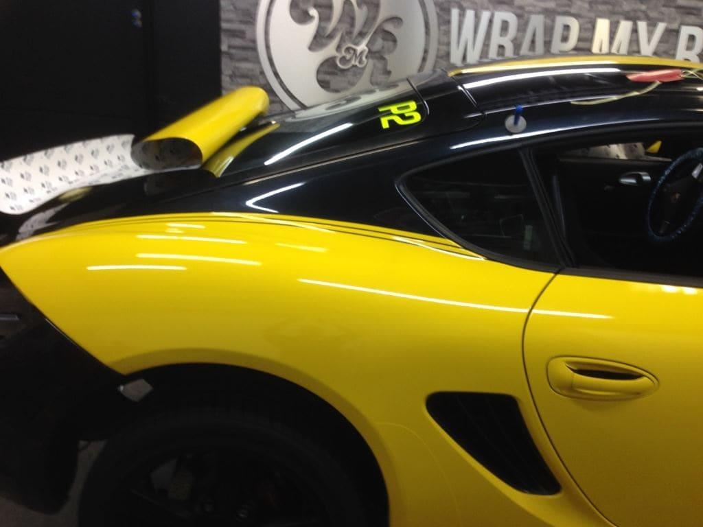Porsche Cayman Yellow, Carwrapping door Wrapmyride.nu Foto-nr:8844, ©2017